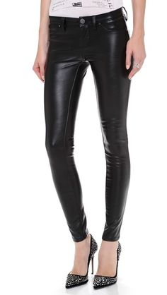 Vegan leather skinny pants (and love the shoes)
