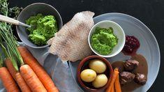 Grønn ertestuing av frosne erter Guacamole, Mexican, Eggs, Breakfast, Ethnic Recipes, Food, Morning Coffee, Essen, Egg
