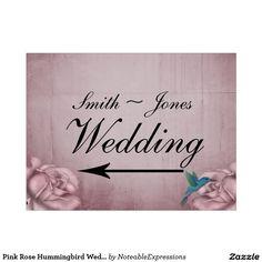 Pink Rose Hummingbird Wedding Direction Sign