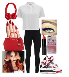 """""""9-19-15"""" by bumm-chix on Polyvore featuring Beats by Dr. Dre, NIKE, MICHAEL Michael Kors, Peace of Cloth, Lacoste L!VE and Maybelline"""