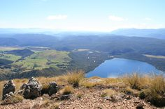 Wonderful view from the top of the mountains in the Nelson Lakes National Park on lakes.