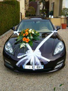 Décor de voiture mariage fleuriste Etampes Etrechy