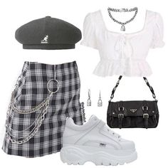 Love this look by 💟 Kpop Fashion Outfits, Stage Outfits, Edgy Outfits, Retro Outfits, Korean Outfits, Cute Outfits, Clueless Outfits, Rock Outfits, School Outfits