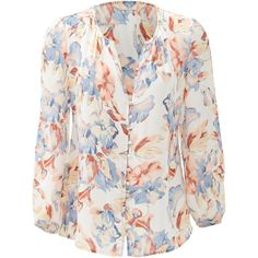 Rental Joie Lennix Silk Blouse ($45) ❤ liked on Polyvore featuring tops, blouses, dresses, v-neck tops, silk top, long sleeve v neck blouse, v neck blouse and long sleeve blouse