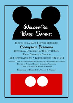Mickey Mouse baby shower invitation from katedidesign on etsy.com
