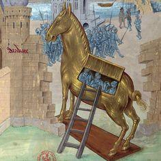 Raoul Lefèvre, Recoeil des histoires de Troyes, Bruges or Ghent ca. Medieval Times, Medieval Art, Medieval Manuscript, Illuminated Manuscript, Judgement Of Paris, Bruges, Renaissance, Horse Story, Trojan Horse
