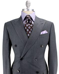 Ermenegildo Zegna - Grey Herringbone Double Breasted Suit