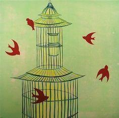Birds & Birdcage Print