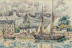 Paul Signac - Le port de Paimpol; Creation Date: 1924; Medium: Watercolor and pencil on paper; Dimensions: 11.5 X 17.25 in (29.21 X 43.82 cm)