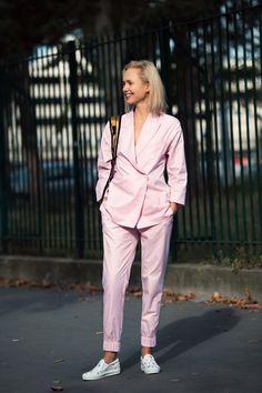 pink gingham. #OlgaKarput in Paris.