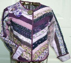 Purple Roses quilted sweatshirt jacketAdult by lavendersugarplum, $75.00