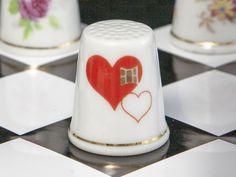 Náprstek z porcelánu - Srdíčka