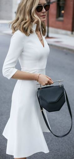 White v-neck midi dress, black ankle strap sandals, black handbag, sunglasses + wavy hairstyle {black halo, nine west, m2malletier}