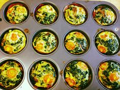 Egg white muffins will definitely keep you full until lunch. Plus, they only have 50 calories per muffin, so you can eat more than one and not feel guilty! Egg White Muffins, Mini Muffins, Eggs In Muffin Tin, Muffin Tins, Mini Eggs, Quick And Easy Breakfast, Morning Food, Food Hacks, Healthy Recipes