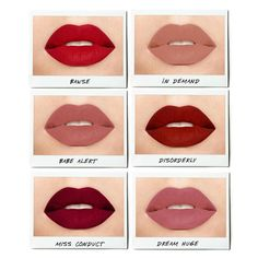 Oh, hello, new liquid lipstick shades. Getting up close with our just-launched Always On Matte Liquid Lipstick. Smudge-proof, budge-proof, non-feathering AND stays put for up to 8 hours with our proprietary Advanced Polymer Technol Mac Lipstick Swatches, Red Liquid Lipstick, Best Lipstick Color, Best Lipsticks, Gloss Lipstick, Lipstick Shades, Lipstick Colors, Lip Colors, Smash Box Liquid Lipstick