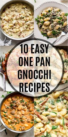 10 quick and easy gnocchi recipes that are all made in one skillet! You're sure to find the perfect dinner or side dish for any occasion. Recipes include everything from creamy to tomato and spinach sauces, vegetarian recipes, sausage, and more! Easy Dinner Recipes, Pasta Recipes, Chicken Recipes, Cooking Recipes, Healthy Recipes, Recipes With Gnocchi, Vegetarian Recipes For Dinner, Vegetarian Gnocchi Recipes, Vegetarian Main Dishes