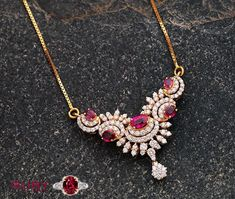 Stylish ruby pendant looks great with any traditional outfit Mom Jewelry, Jewelry Stores, Wedding Jewelry, Coral Jewelry, Beaded Jewelry, Gold Chain Design, Gold Jewellery Design, Gold Earrings Designs, Necklace Designs