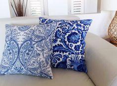Linen Paisley Blue & White Cushions Linen by MyBeachsideStyle