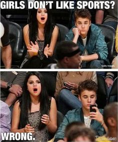 Selena Gomez = Excited  Justin Beiber = Rude + Boring