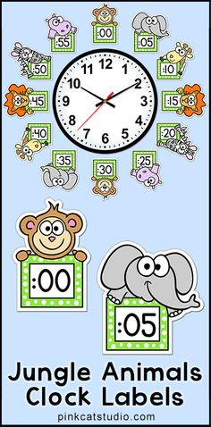 These fun jungle animals theme labels will look fantastic around your classroom clock! The polka dot frames and silly animal characters are sure to inspire your students to practice telling time. By Pink Cat Studio