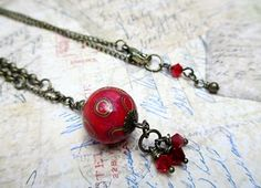 Red Bead Necklace Handmade Beaded Jewelry by LittleBitsOFaith, $30.00