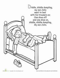 Preschool Nursery Rhymes Fairy Tales Worksheets: Nursery Rhyme Coloring: Diddle Diddle Dumpling