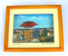 """Glass Front 3 Dimensional Art Shadow Box with Beach Chairs & Umbrella New Tropical Beach Decor by Florida Gifts. $18.99. Beachy Keen - 3D shadow box with raised beach chairs and umbrella. Approximately 8 7/8"""" X 7.25 X 1.75.  Background appears as beach scene.. Top has a covered window to let in light.  New. For optimum displaying of the 3D shadow box place on a table or counter using the slide out bracket rather than hanging on the wall.  Top light or front ligh..."""
