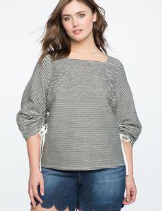 Drawstring Gathered Sleeve Blouse | Women's Plus Size Tops | ELOQUII