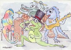 ACEO TW APR Original Lounge Lizards cartoon crocodile chameleon iguana frog #Cartoon