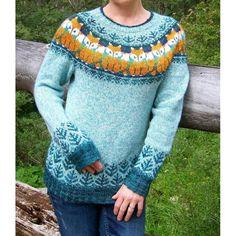 Foxy Sweater Knitting pattern by Kulabra Designs Tribal Sweater, Fox Sweater, Jumper, Sweater Knitting Patterns, Knit Patterns, Knitting Sweaters, Fair Isle Knitting, Free Knitting, Motif Fair Isle