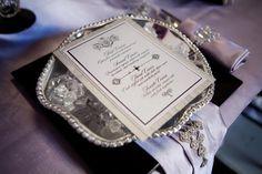 paris french custom wedding invitation menu decor bejewled stationery couture posh silver stationery
