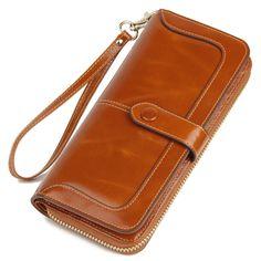 2017 New Women's Genuine Leather Wallet Female Zipper Wallets RFID Blocking Clutch Large Card Holder Phone Wristlet Coin Purse - Fatekey Rfid Blocking Wallet, Rfid Wallet, Clutch Wallet, Real Leather Wallet, Leather Clutch, Cow Leather, Wholesale Bags, Womens Purses, Wallet Pattern