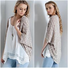 LISTING! NWT Taupe Knit Bolero NWT Taupe Knit Bolero Cardigan. Beautiful shades of taupe and cream in this two-toned bolero cardigan make this neutral piece go with everything! Lightweight knit, perfect for the transitional weather. Open bolero style with long length in back for coverage. Material is Acrylic/Polyester Blend. Fits true to size with a loose/roomy fit. Available in S (0-4), M (6-8), L (10-12). No Trades and No Paypal⭐️PLEASE DO NOT BUY THIS LISTING, COMMENT WITH SIZE AND I WILL…