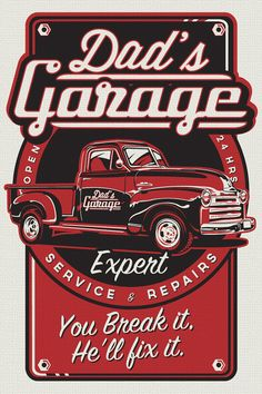 dad's garage pickup truck workshop vintage retro silk screen print poster…