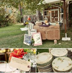 I love this real wedding.  Mismatched china, vintage postards, etc.  Good ideas for arranging the items we already have collected!  LOVE THEM.