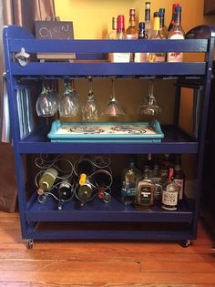 Diy bar cart from a thrift store changing table, I'm thinking this could also be modified for kitchen or bathroom use!