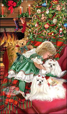 Maltese Christmas Holiday Cards are 8 x 5 and come in packages of 12 cards. One design per package. All designs include envelopes, your personal message, and choice of greeting. Christmas Scenes, Christmas Animals, Noel Christmas, Vintage Christmas Cards, Christmas Pictures, Christmas Greetings, Holiday Cards, Christmas Drawing, Christmas Paintings