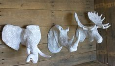 Set of Three Paper Mache Animal Head Sculpture by PaperUnleashed on Etsy