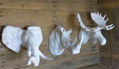 Ensemble de trois papier mâché tête d'Animal par PaperUnleashed