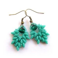Sea Green Duo Bead Earrings with Fire Polish Crystal £8.50