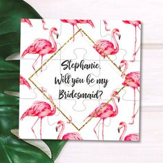 55c057037418 Flamingo Bridesmaid gift Flamingo Bridesmaid proposal Flamingle proposal  card Flamingo wedding invitation Tropical wedding Bridesmaid puzzle