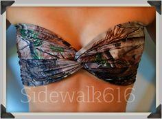 Probably the cutest camo bikini top I have ever seen.   PRE+SALE+Real+Tree+Camo+Bandeau+Top+Spandex+Bandeau+by+Sidewalk616,+$30.00
