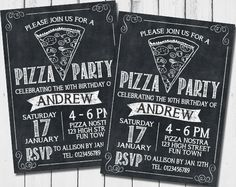 Chalkboard PIZZA PARTY Birthday Invitation - Boy or Girl, Child, Teenager or Male or Female Adult