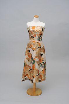 1950s Floor-length, Strapless Dress with short train  Accession #: W.2007.2.12  Fabrication: Heavy brocade Japanese Kimono fabric  Donor: Diane Okubo