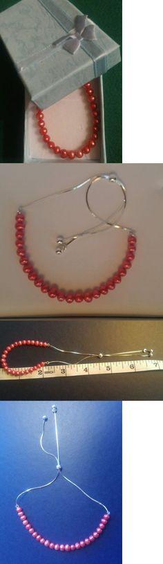 Pearl 164316: 925 Sterling Silver Pink Pearls Sliding Adjustable Bolo Bracelet Med - Large Nib -> BUY IT NOW ONLY: $37 on eBay!