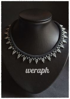 Silver night - beaded crochet rope necklace with super duo.