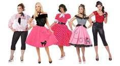 "Look like your favorite 50s icons, like Lucy in ""I Love Lucy"" or Sandy in ""Grease"". Pick from our gorgeous 50s costumes - from dresses to skirts, and more!"