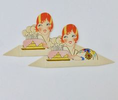 1920/'s unused gold gilded die cut Clark place card deco flapper lady next to pink and yellow Birthday cake with lit candles