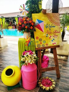 Weddings Discover Photo From Poppins : Colorpop Mehendi Theme - By Inch Perfecto Indian Wedding Theme, Desi Wedding Decor, Marriage Decoration, Wedding Decorations On A Budget, Background Decoration, Backdrop Decorations, Diwali Decorations, Ceremony Decorations, Board Decoration