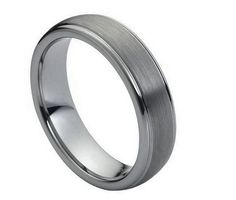 Men's Tungsten Carbide Wedding Band Dome Brushed Finish Grooved Edge Comfort fit #Unbranded